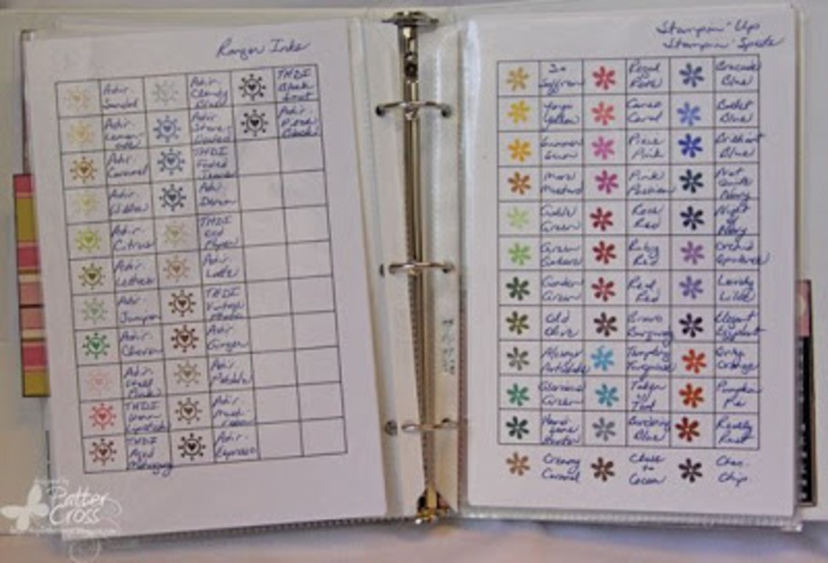 My three-ring binder showing the colors of ink I own.