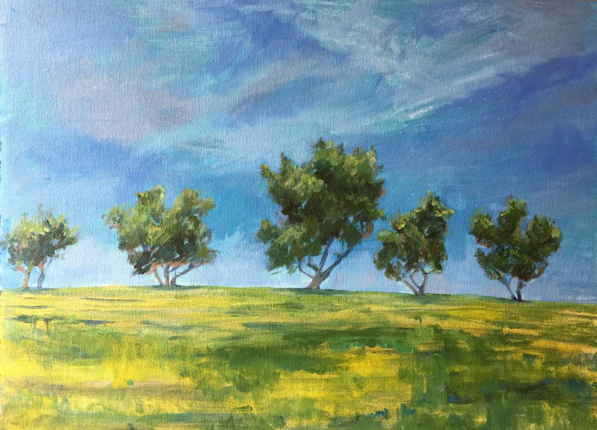 Smooth hard edges around the trees and in the grass. Add any needed final details at the end of your painting.