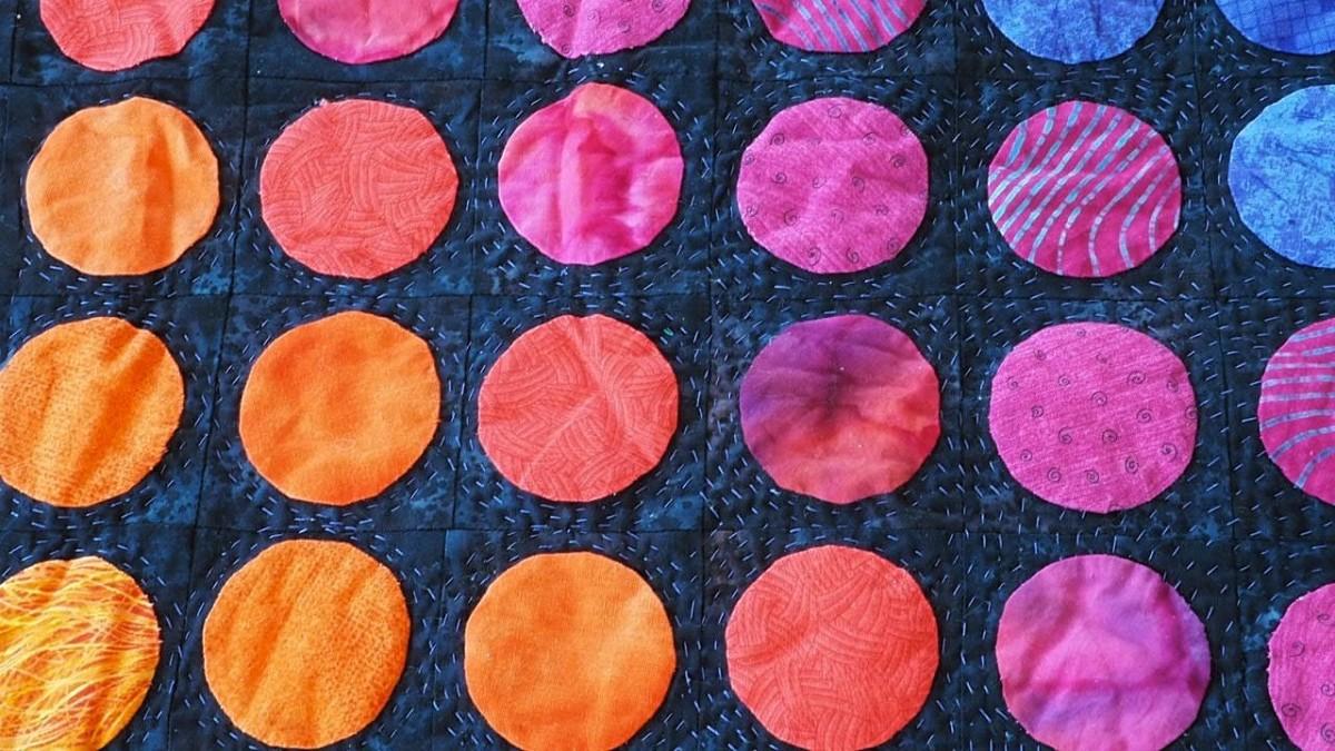 Detail from an appliqué quilt.