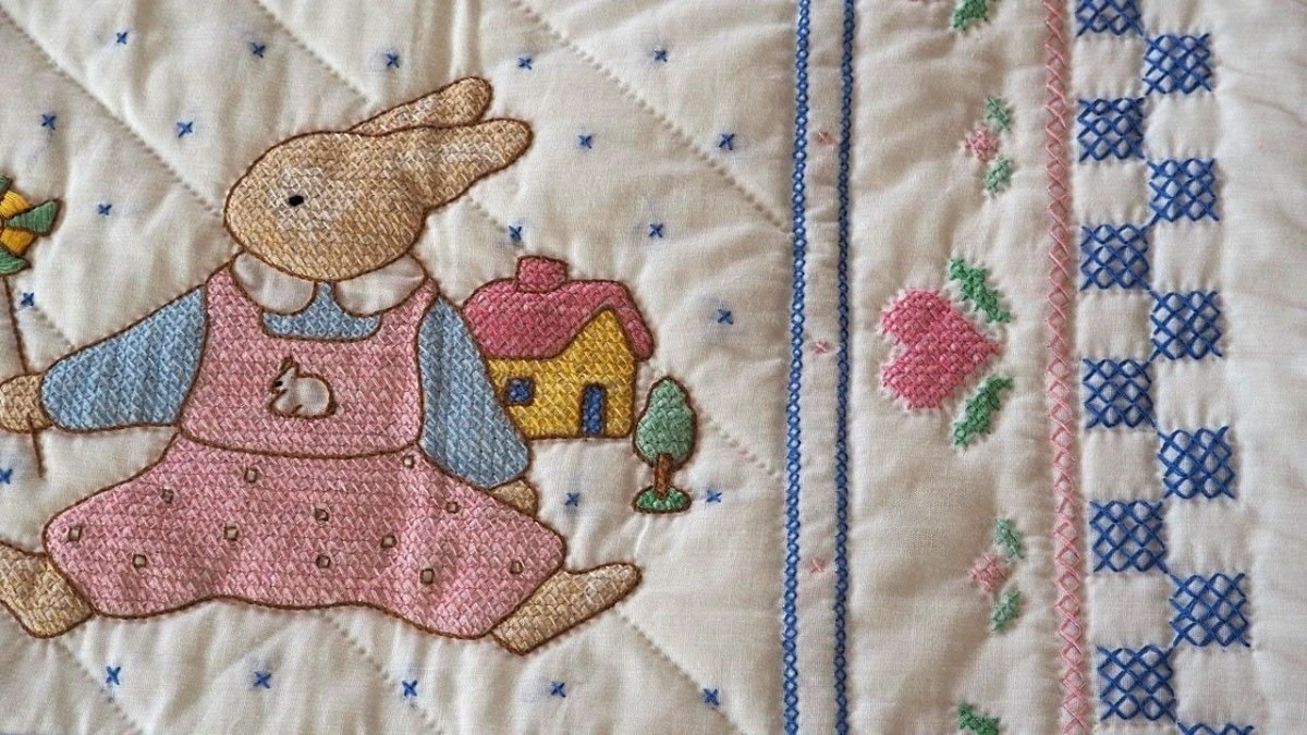 Detail from an embroidered quilt. Pattern unknown.