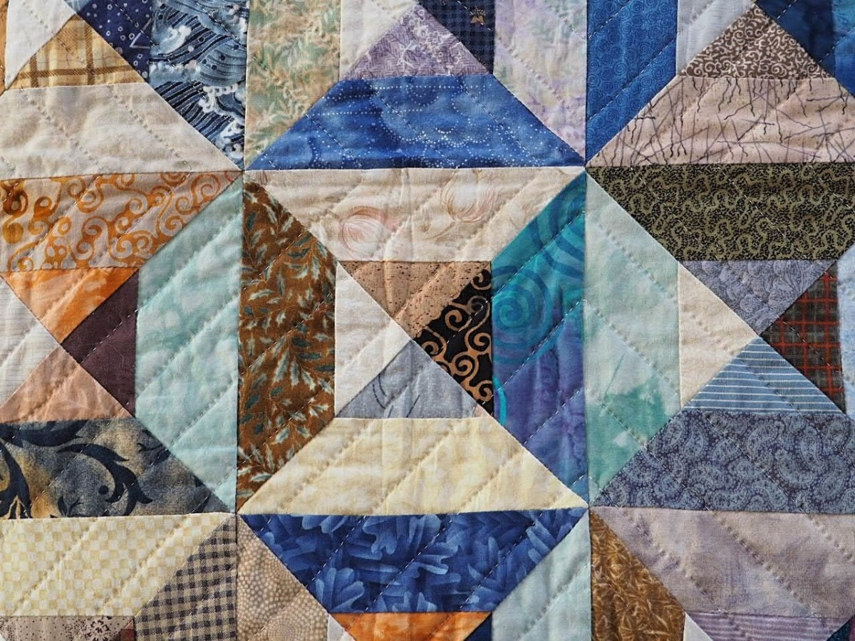 Detail of a patchwork quilt.