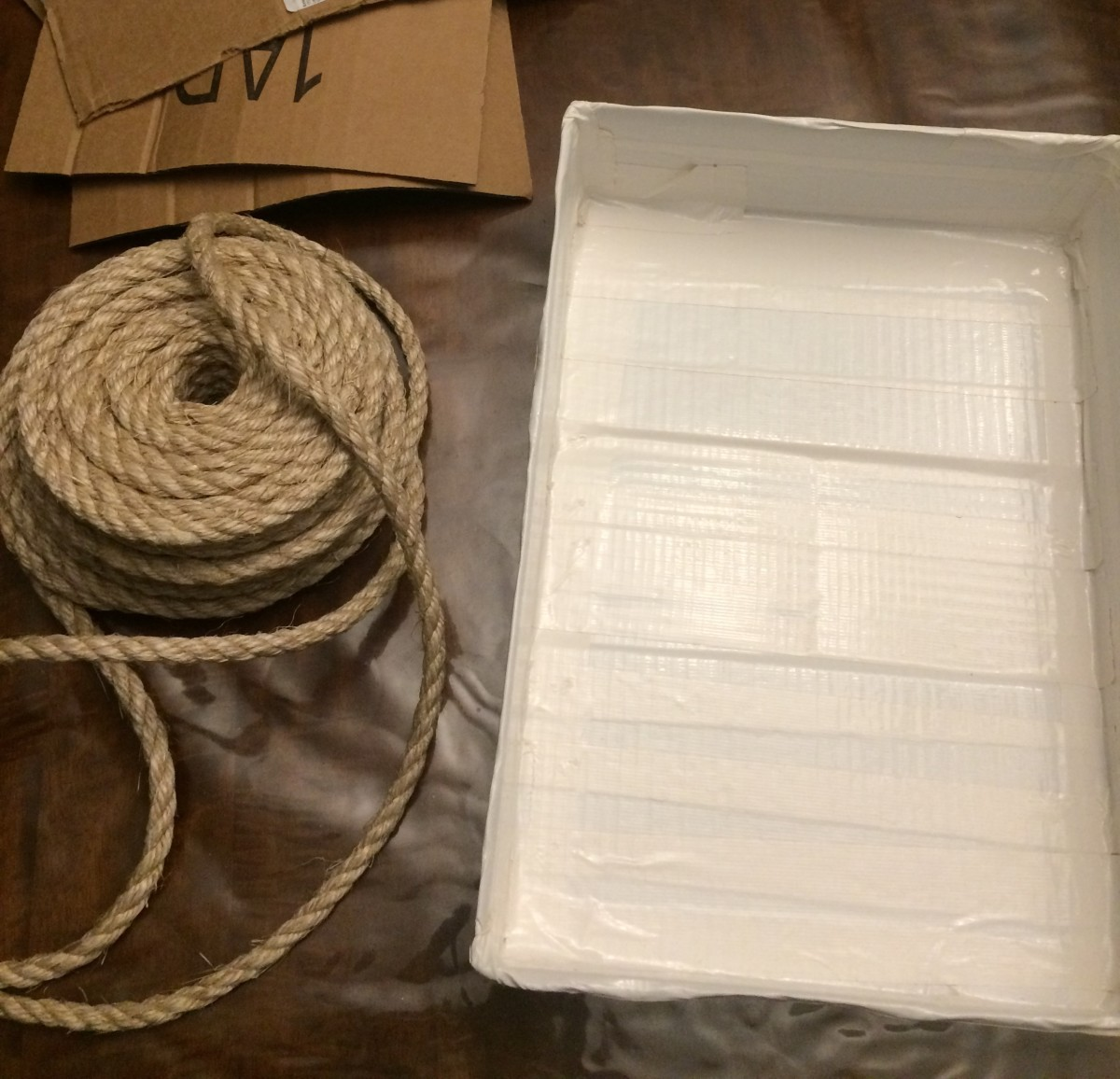 Sisal Rope and Form I used, just an old cardboard box.