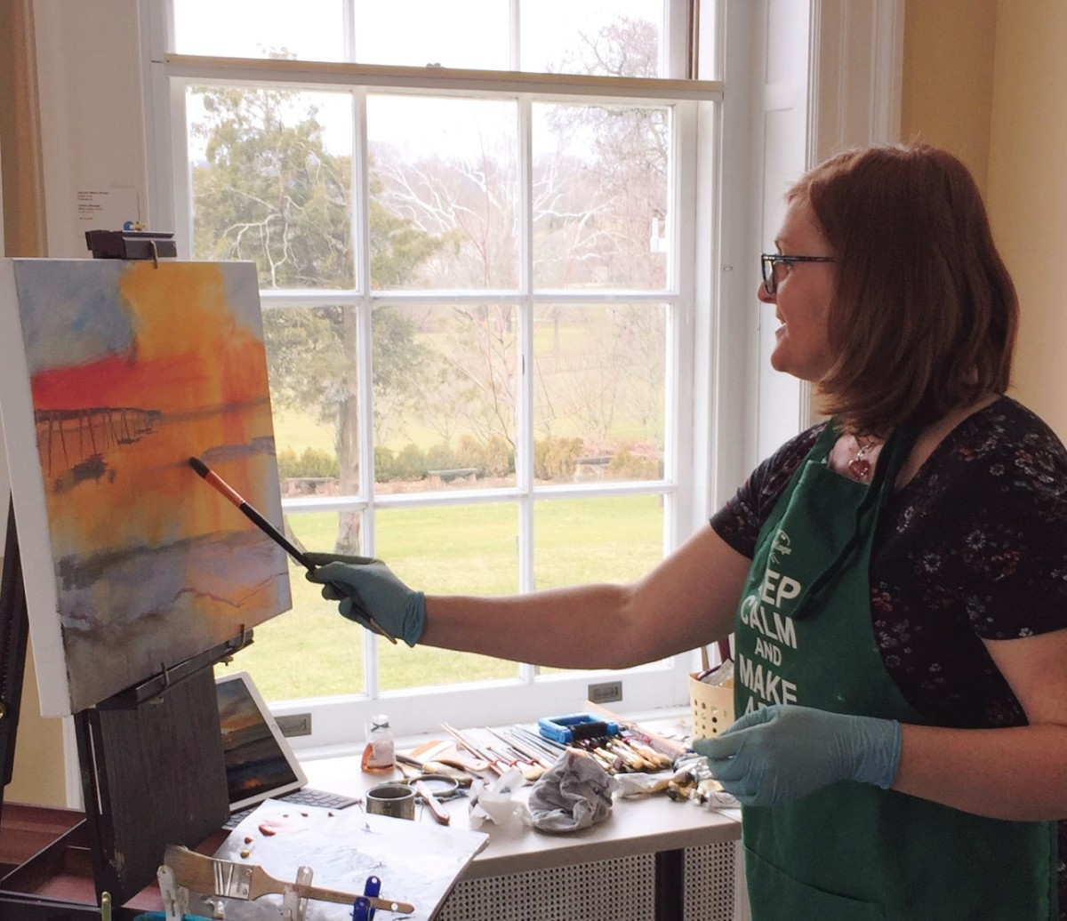 Me loosely starting a painting while giving a demo during an art gallery exhibit - talking about being bold and courageous!