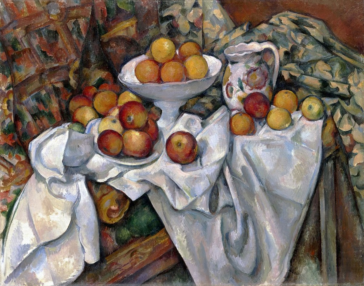 Setting up a still life you get the chance to plan your composition, leading lines, value structure in ways that are interesting for the eye and lead the viewer's eye to the different elements of the painting. Paul Cézanne, Apples and Oranges.