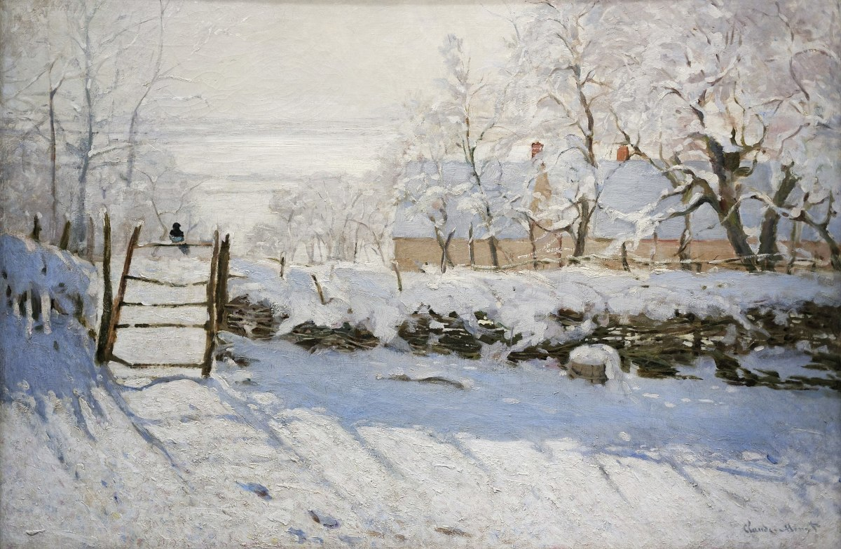 Snowscape painting by the French Impressionist Claude Monet depicting a solitary black magpie perched on a fence. Date 1868 -1869