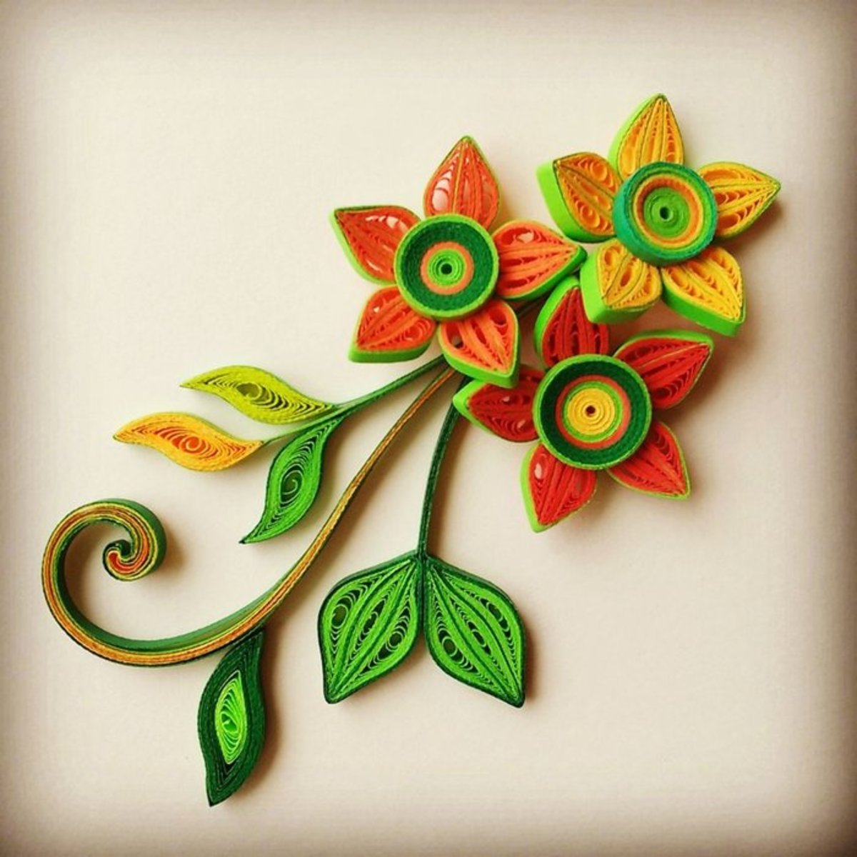 Gorgeous 3D Quilled Flowers and Leaves From Scratch! : Learn to make these gorgeous and colorful flowers and leaves today, from scratch! I'll also show you how and where you can use em in different projects :)