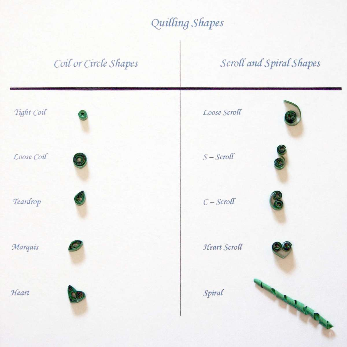 Basic Quilling Shapes