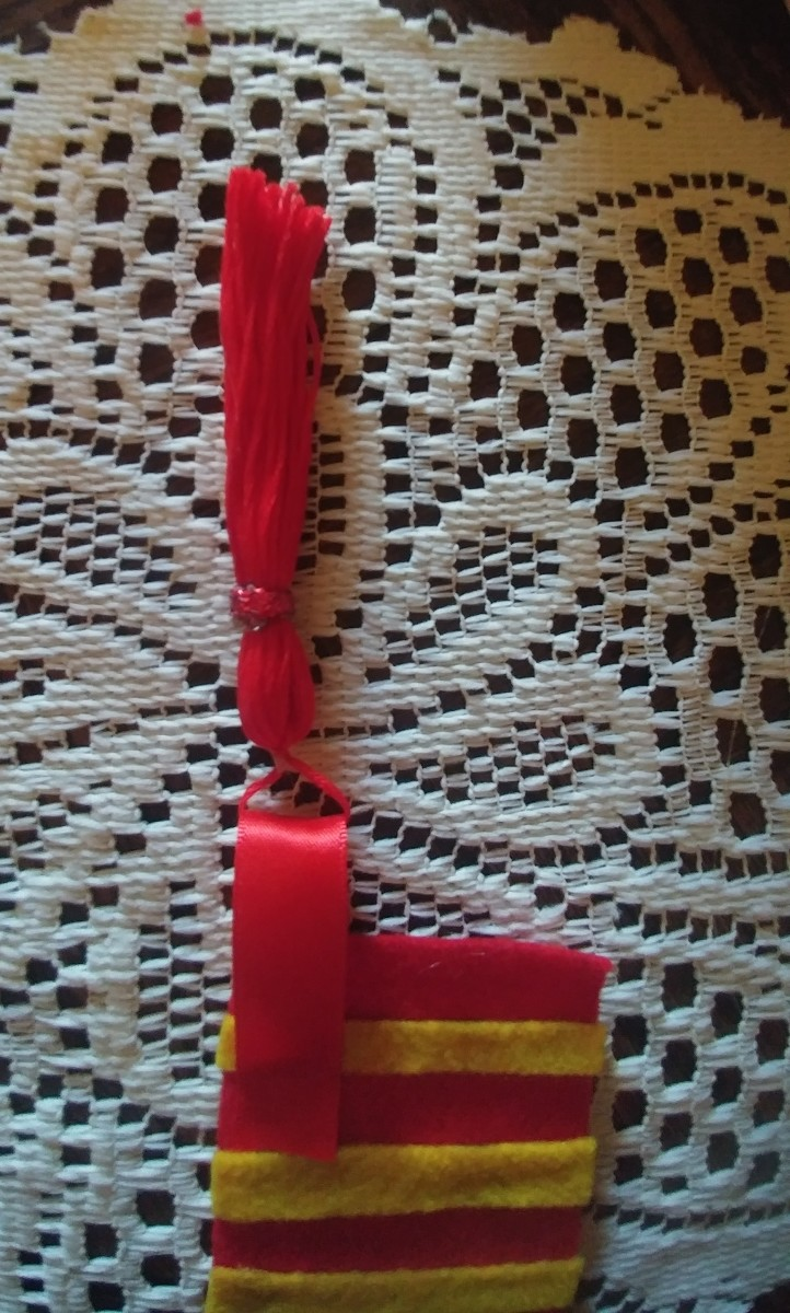 Be sure to slip tassel before glueing end of ribbon, on the front of bookmark.