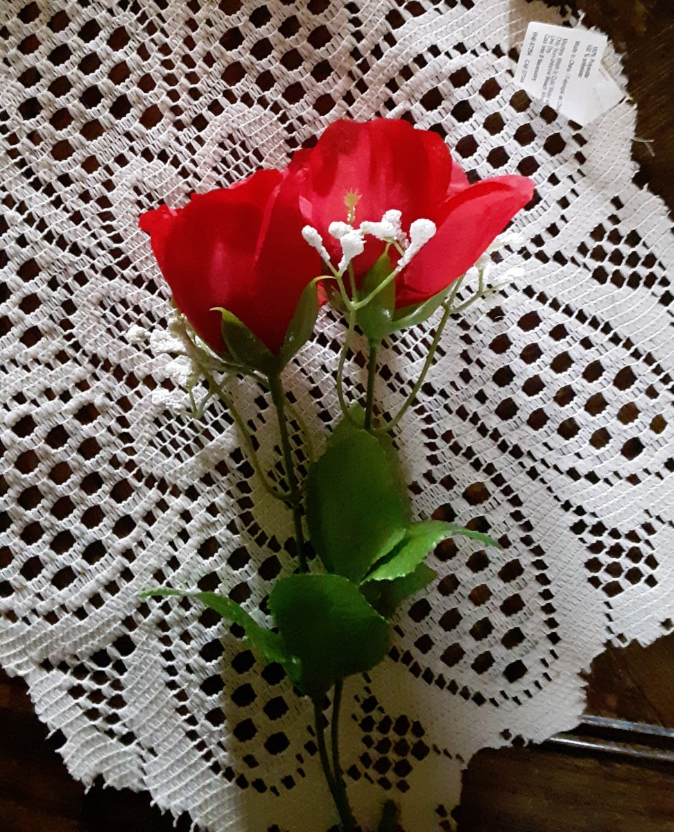 Fake roses can be found at a dollar tree or craft store.