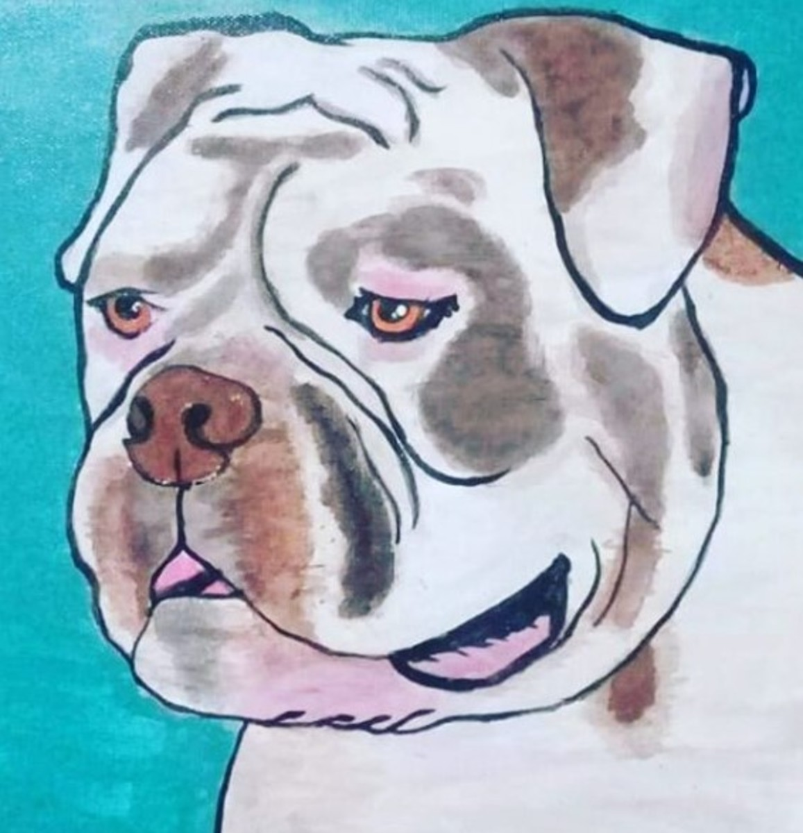American bulldog portrait: My cousin, who is 44 and has never painted in his life, followed my instructions and created this. It's pretty great! You can do it, too!