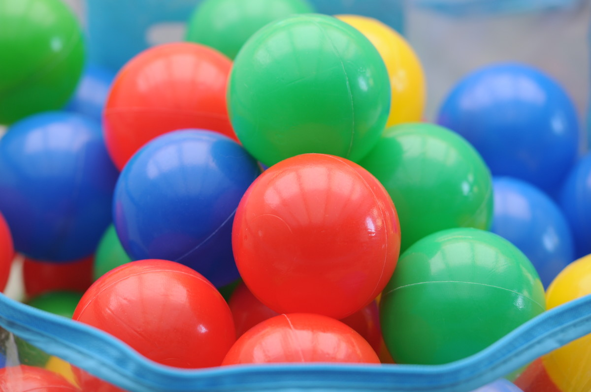 Plastic water-play balls used by children
