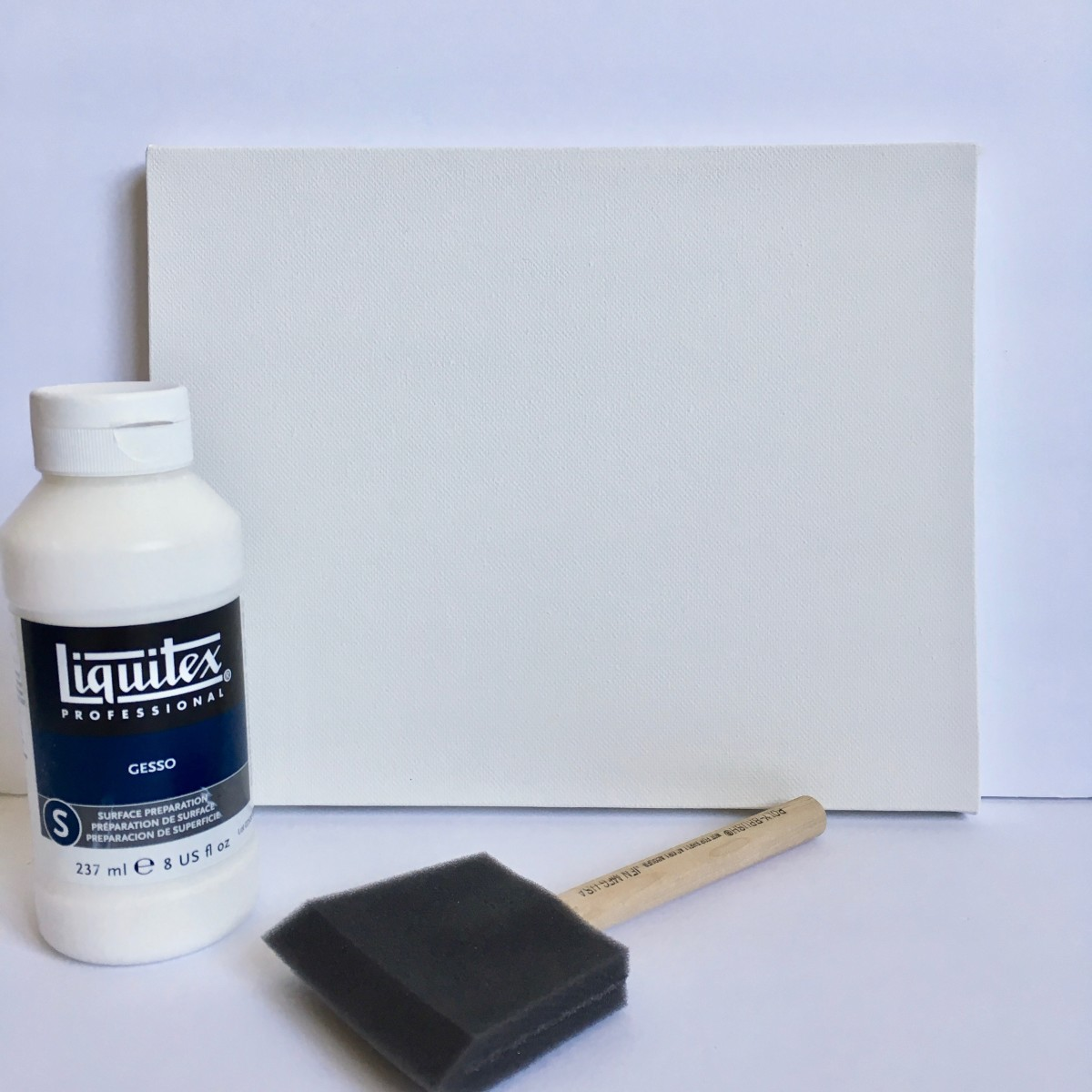 Stretched canvas and gesso