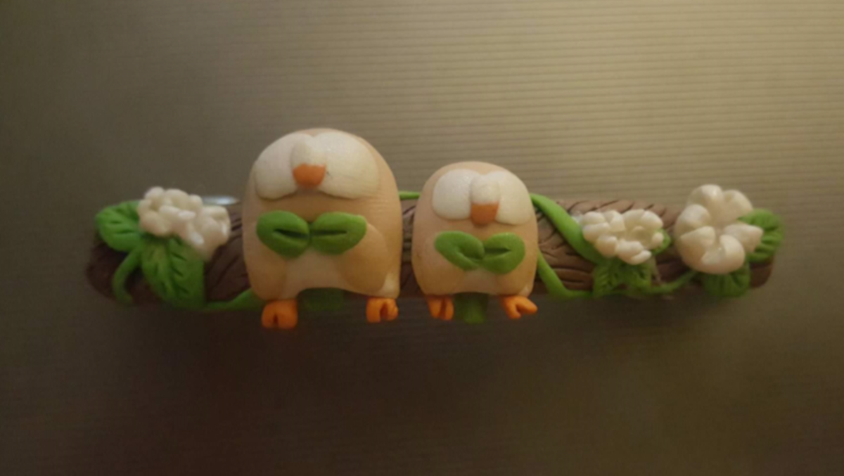 Rowlett Pokemon Handmade Hair Clip Before Bake