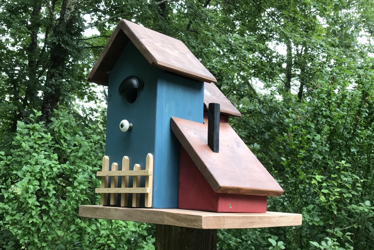 The new three unit condo birdhouse is ready for occupancy