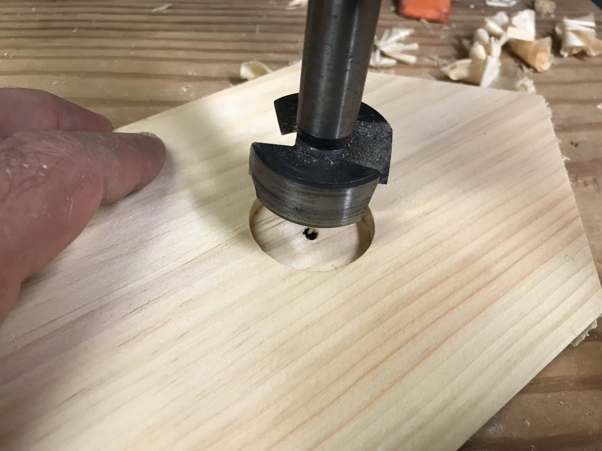 "I used a 1-1/2"" Forstner bit to drill the entrance holes"