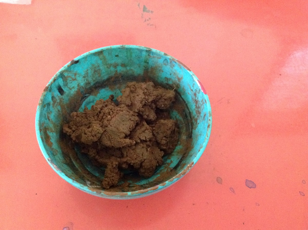 Garden soil with water and craft glue