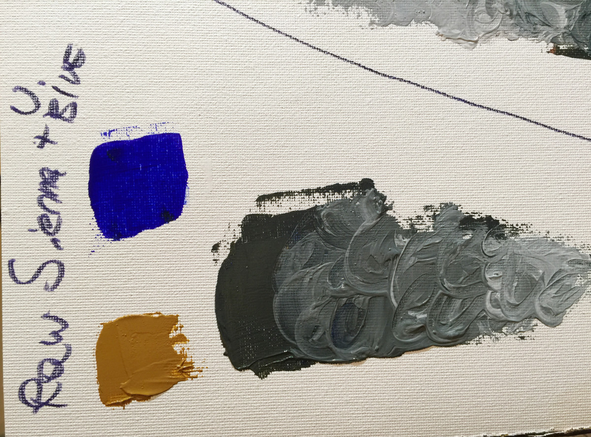 Mixing Raw Sienna and Ultramarine blue, the resulting neutral is very similar to the one obtained mixing Vermillion and Ultramarine blue, but this time the mix leans towards a dark blue-green.
