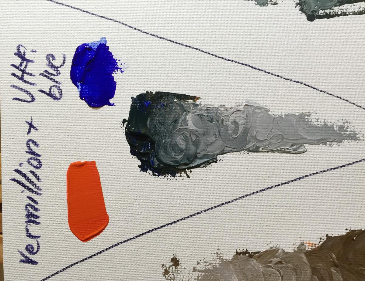Ultramarine blue and vermillion, a darker orange, give a nice dark and cool neutral.