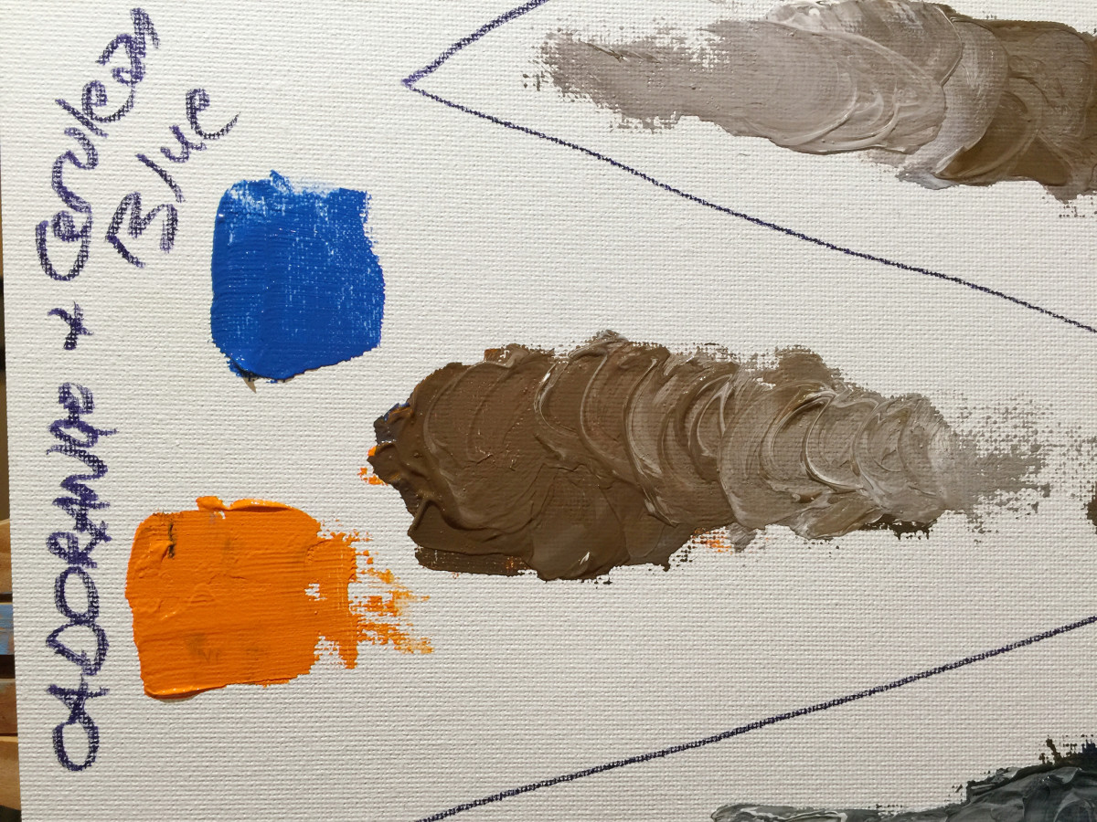 Cadmium orange and cerulean blue make a nice brown, that is slightly lighter and warmer than the previous mix.