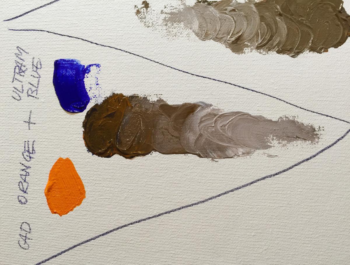 Cadmium Orange and Ultramarine Blue make a warm, dark brown, when white is added in it gets really neutral.