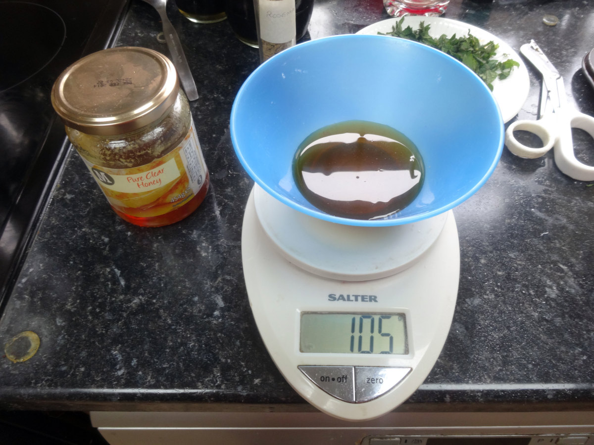 The honey being weighed to add to the recycled soap.