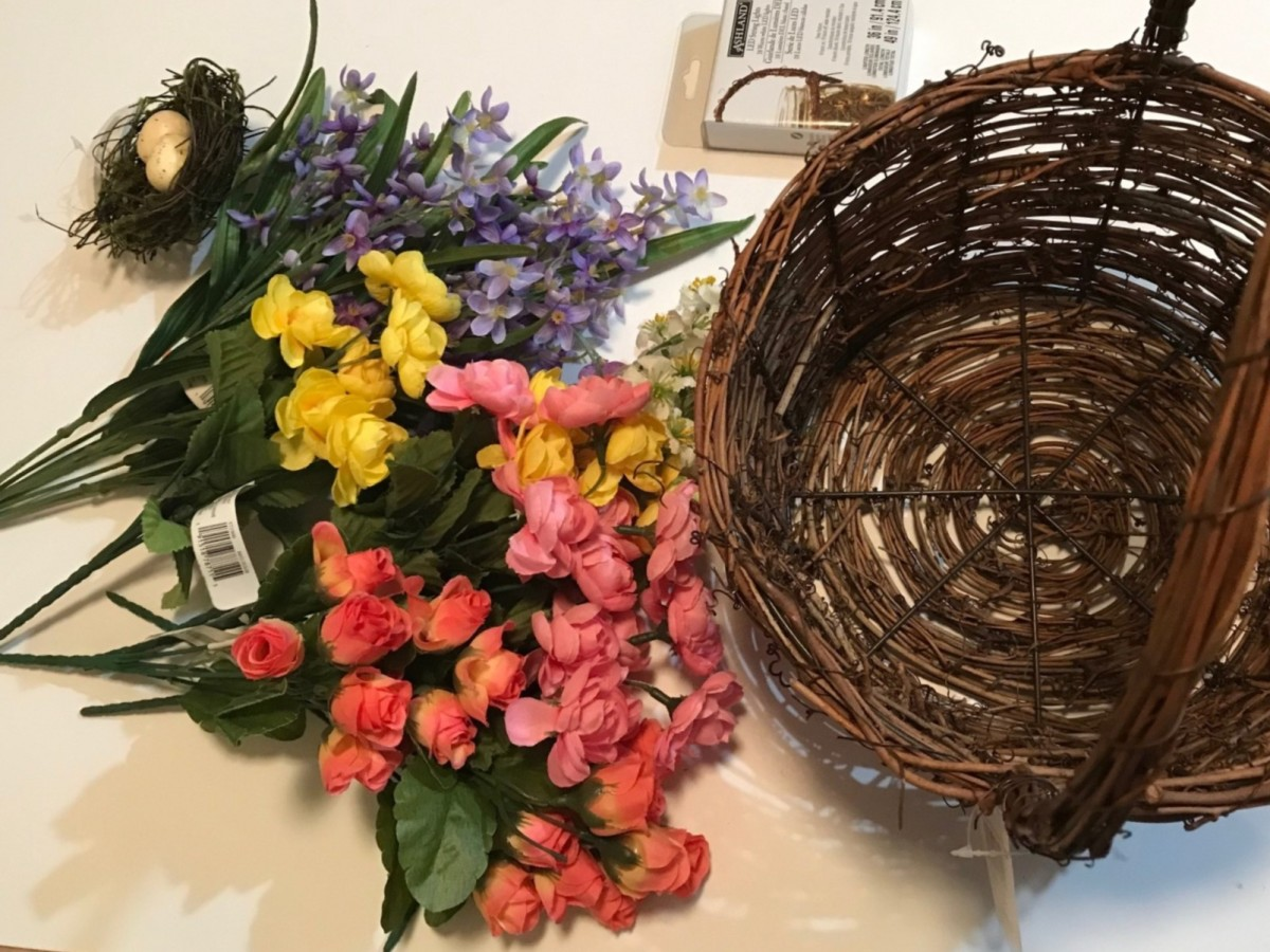 Gather your tools & materials:  basket, flowers, Spanish moss, hot glue gun,  craft wire cutters, etc. Get ready to create a bright, one-of-a-kind floral basket you'll treasure.