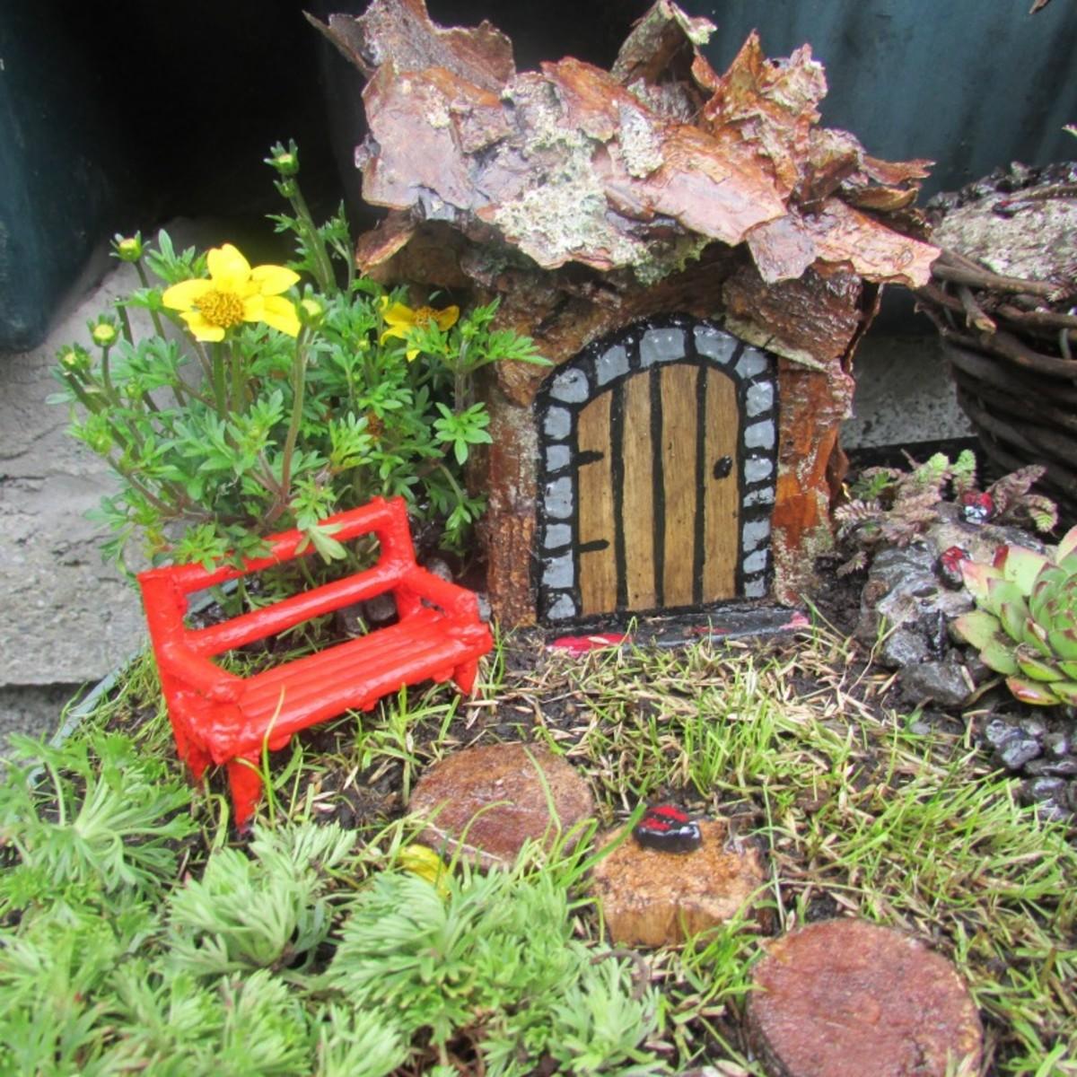 A wooden bench in my Fairy garden