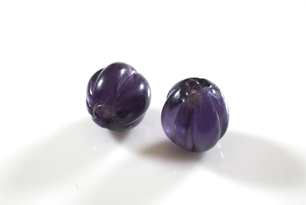 """Chinese glass """"squash"""" or melon beads from the mid to late Manchu Dynasty. Processed with Helicon Focus."""
