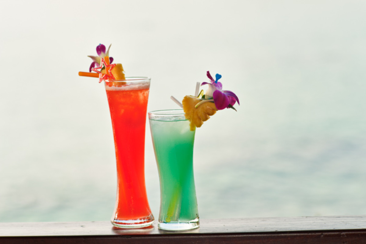 Simple fill flash with manual settings. Without flash the drinks would be dark or the background would be very bright.