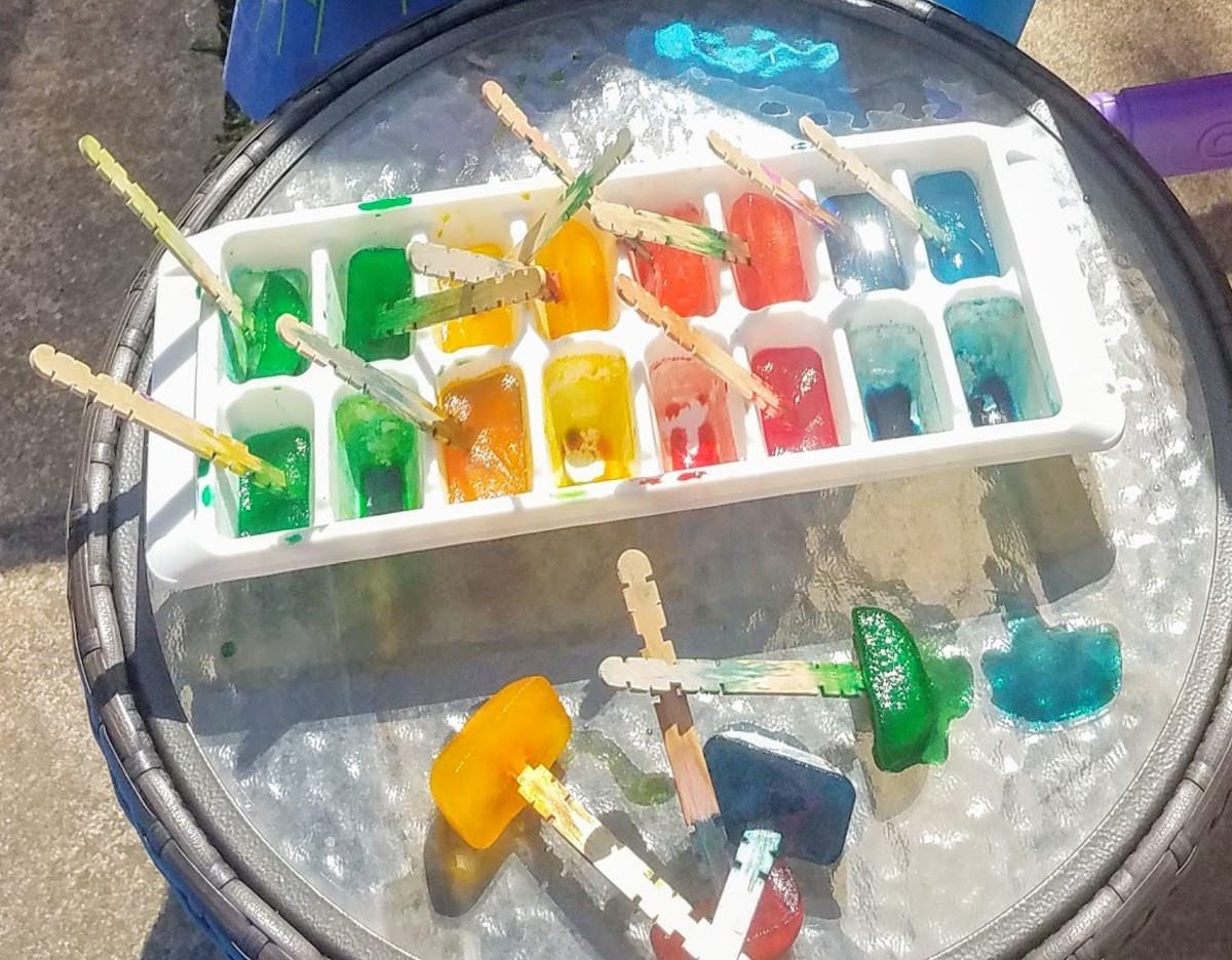 Colored ice cubes