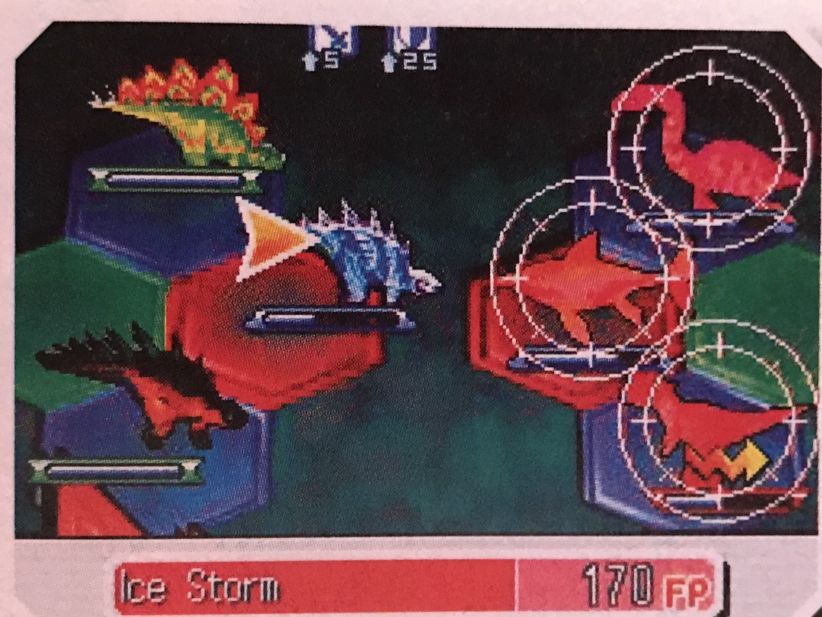 "A battle formation in ""Fossil Fighters"" for Nintendo DS."