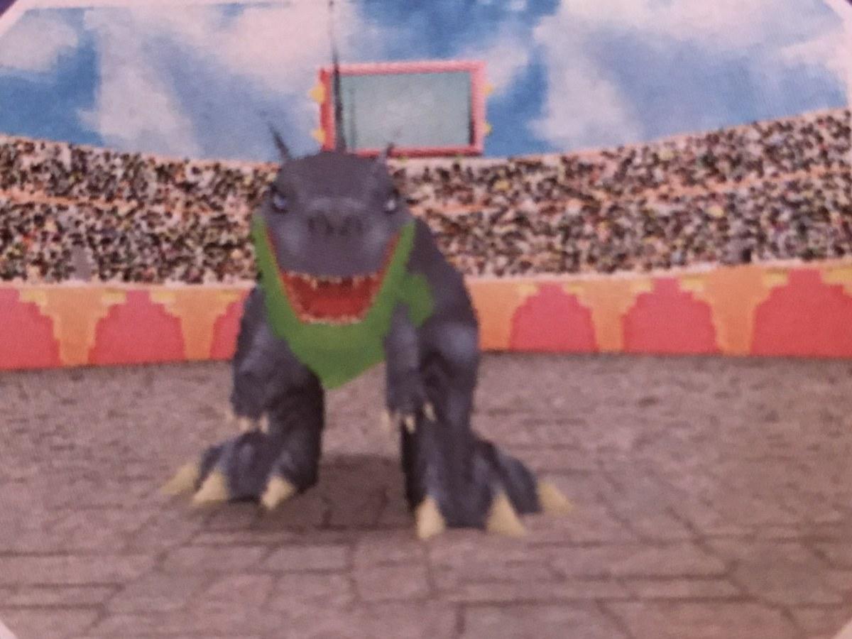 A Vivosaur in battle in Fossil Fighters.