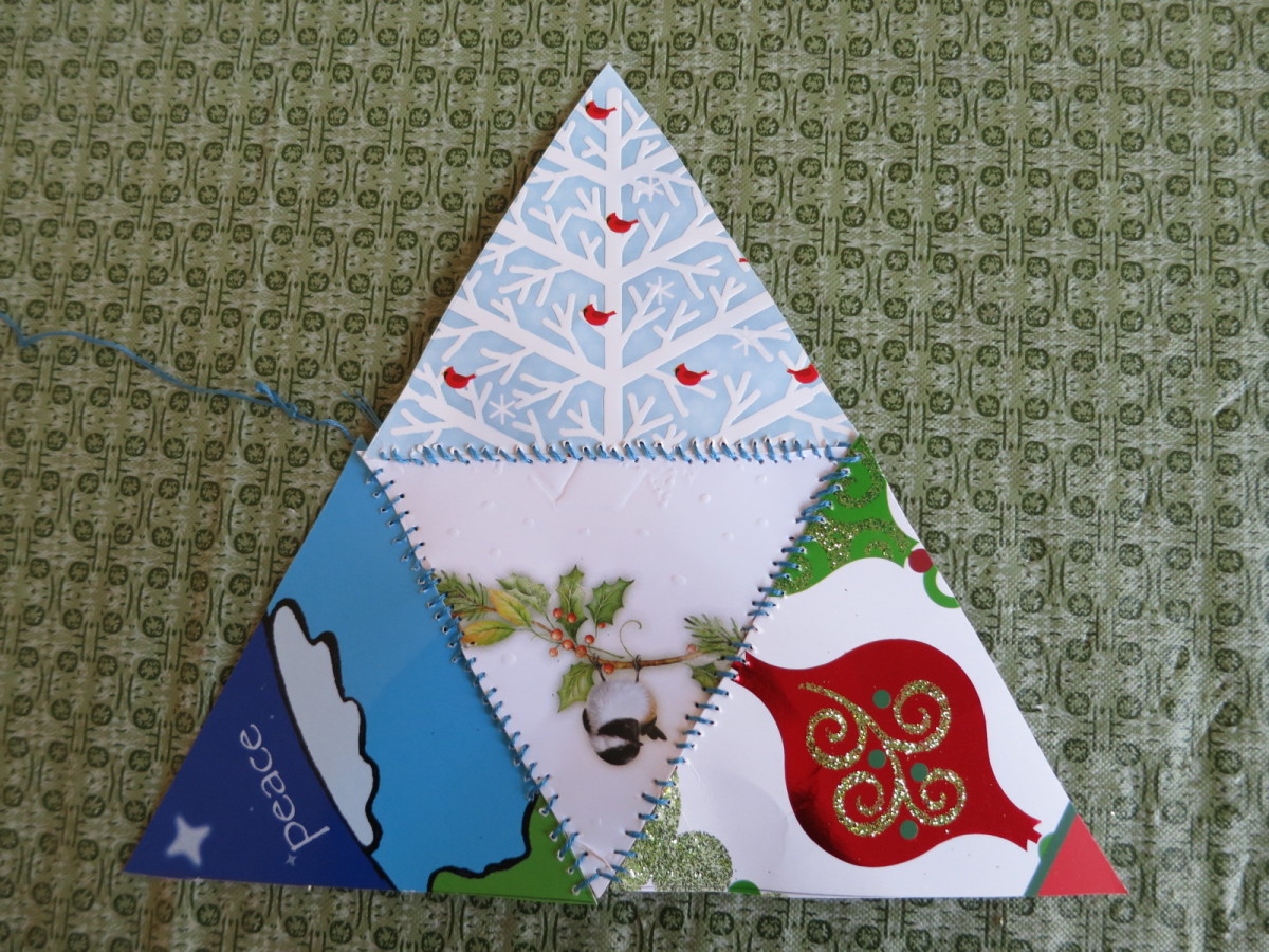 making a pyramid Christmas ornament from greeting cards