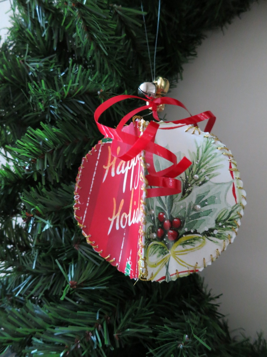 handmade ornament from recycled Christmas cards