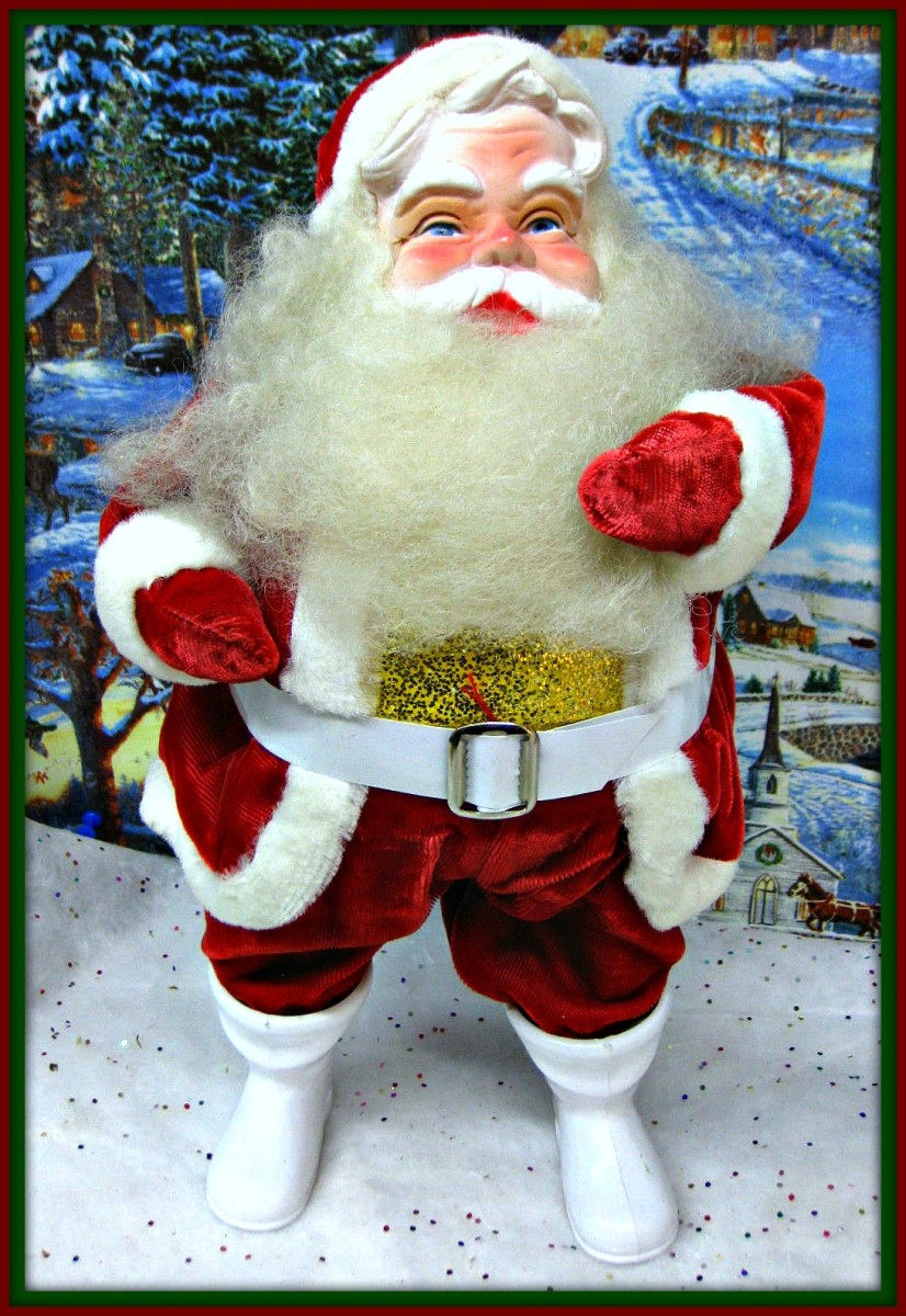This sweet Harold Gale Santa is with the rare gold glittered vest. He is extra jolly and at 13 inches tall, he is ready for your home Christmas display.