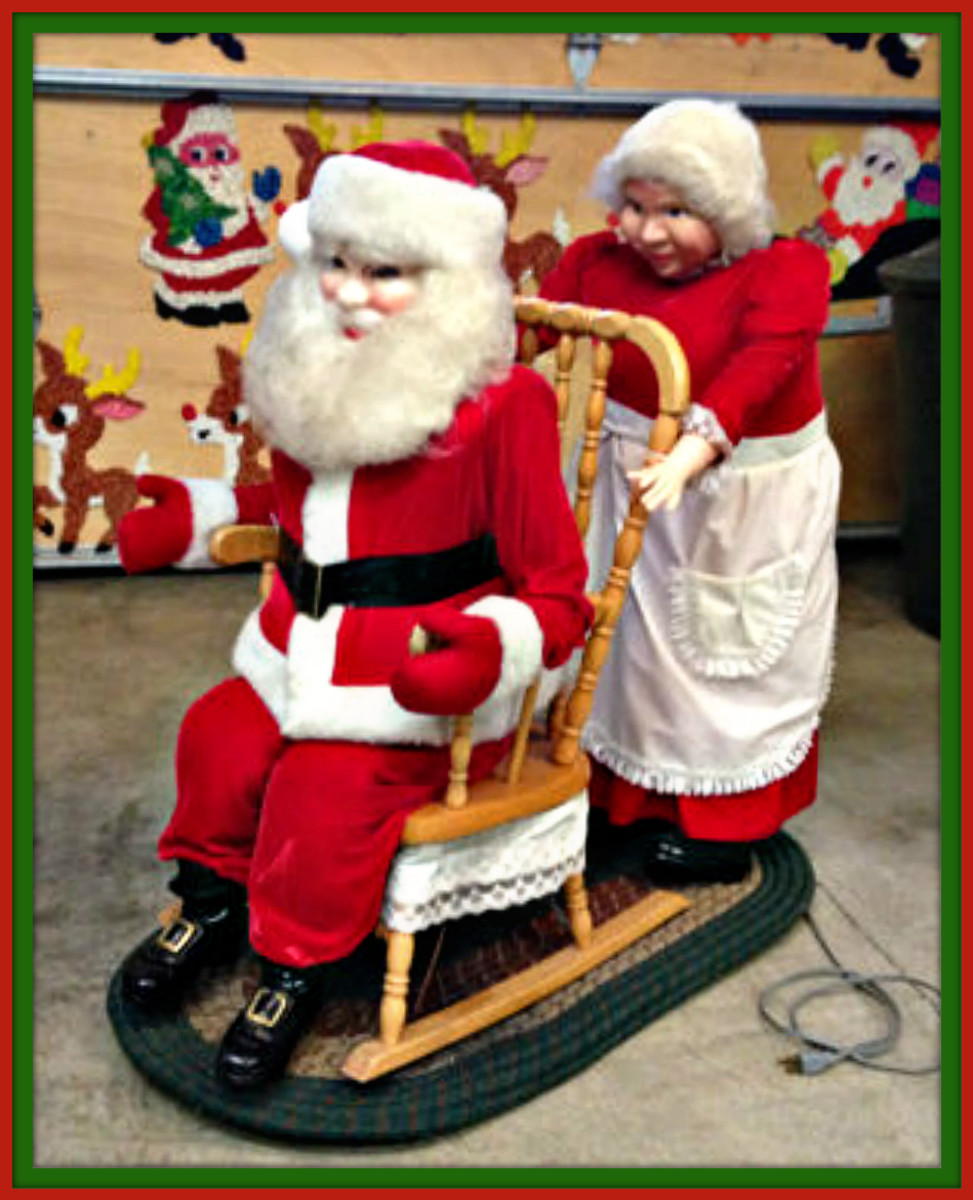 , Mrs. Clause pushes Santa clauses chair and rocks it, this is a very nice display. The motor is quiet and runs smooth. The motor was built for commercial use to run for many hours in a display.