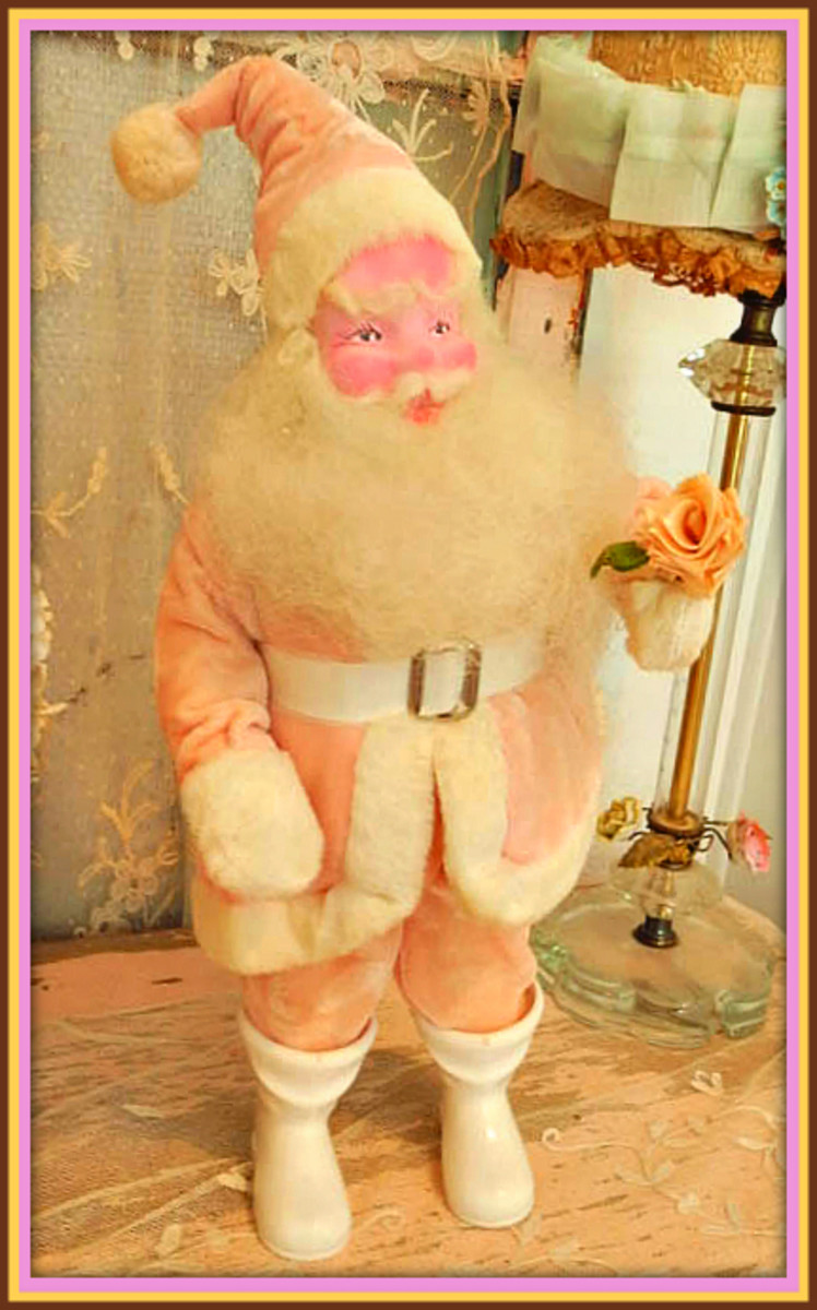 Vintage Santa Clauses Dolls are very popular now especially around charismas time, so if you are looking for one you don't want to miss out on this rare PINK one as they are getting very hard to find.