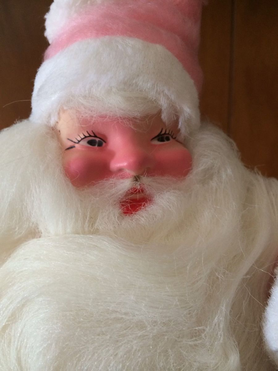 Harald Gale and his Wife hand Made the Faces on Santa back in the early days, and this 1963 pink Santa shows the attention to detail that Harold put into each Santa.