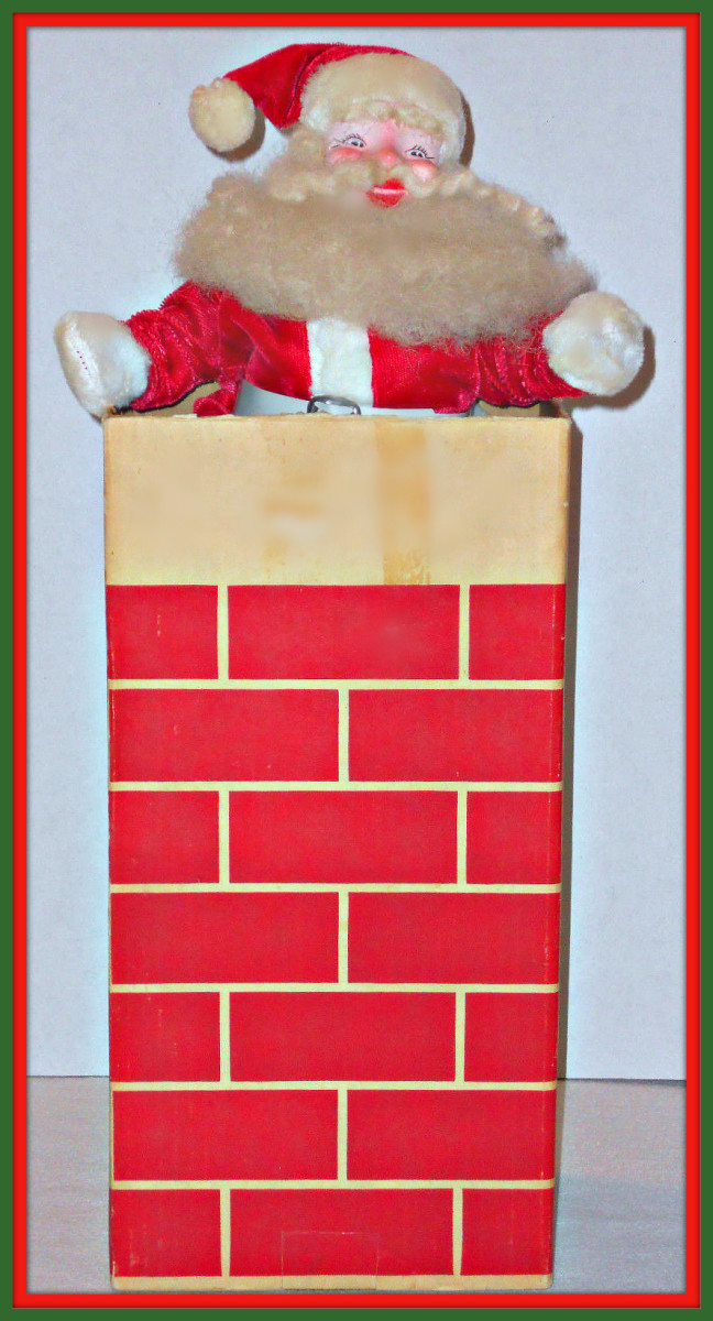 "For Xmas 1963 Red Velvet Harold Gale Santa and his Cardboard Chimney. This awesome vintage Harold Gale Santa with Red Velvet Suit and Cardboard Chimney The chimney 14¼"" high and 7"" high. Santa is 14"" high."
