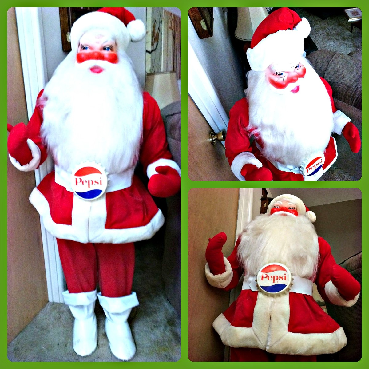 Here is a great vintage Harold Gale Store Display Santa in great condition! Stands fifty inches tall and stands on it's own.