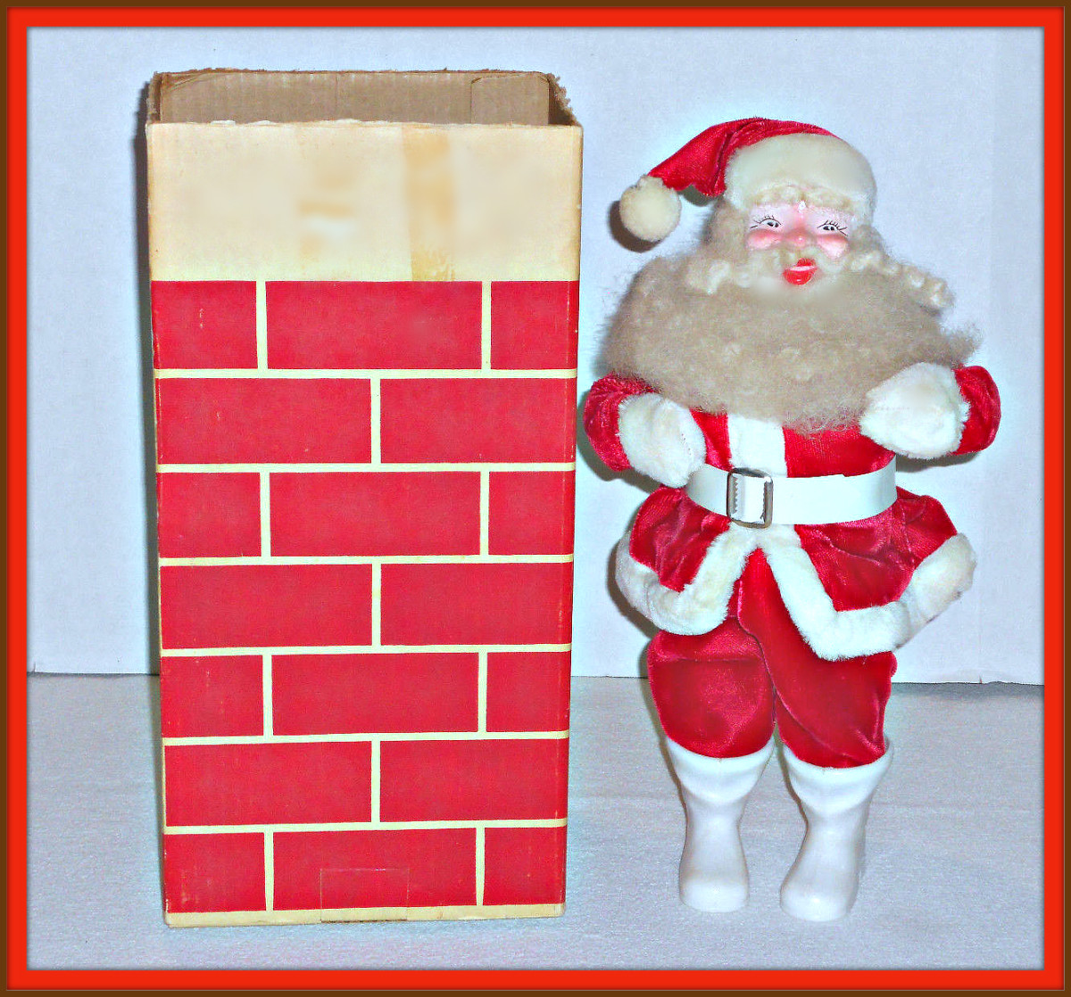 For the Christmas holidays in 1963 the Harold Gale Santa  came with his own Cardboard Chimney for your holiday display. What a wonderful way to get into the season with this as a center piece of your holiday decorations.