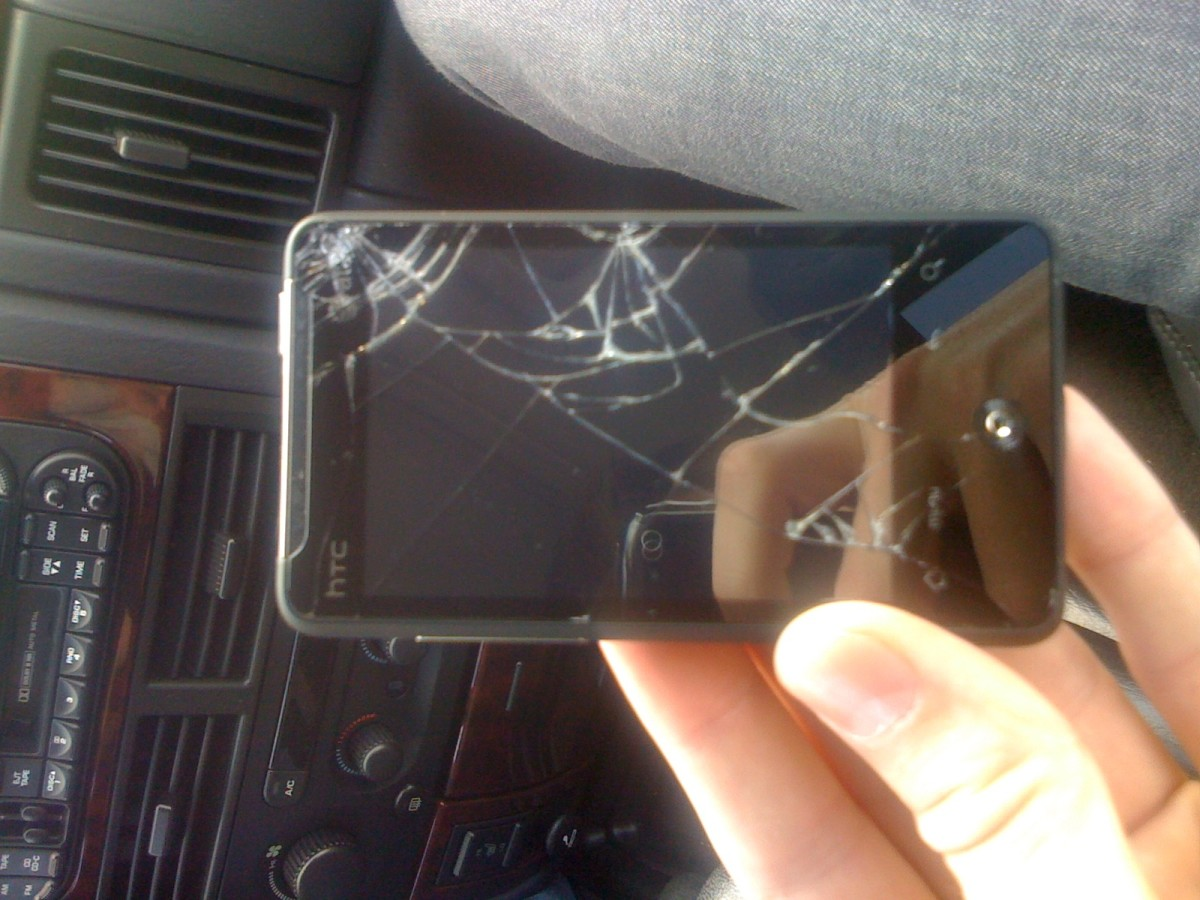 I accidentally dropped my week-old HTC Aria onto the cement and the screen cracked.