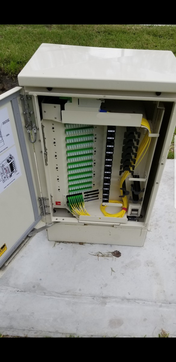 This is a PFP. Fiber that has been split is in, what we call, the parking lot at the bottom left. Just waiting to connect to the fiber ports at the top that go to your house.