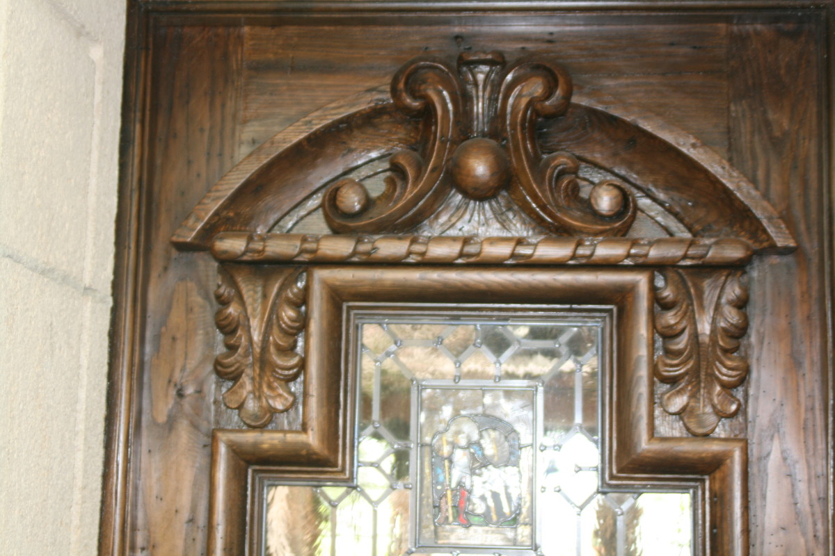 A Spanish Baroque style door.  The wood was imported from Europe.