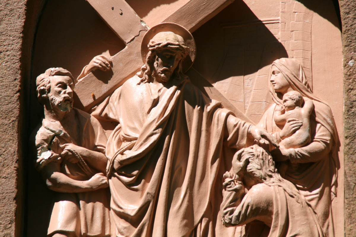 One of the 14 terracotta stations of the cross in Munich Germany that were damaged by the NAZIs during WWII.  Jorg was called in to repair all of them with his carvings.