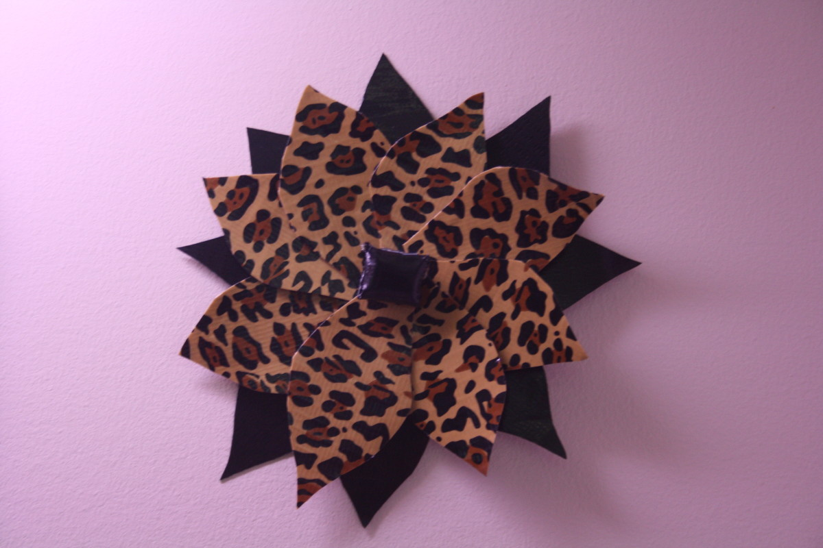 Leopard print and black Duct Tape.