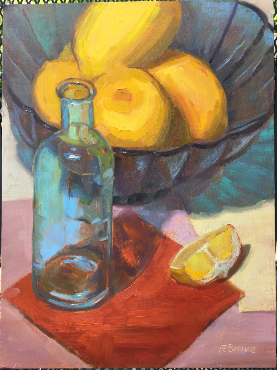 """The final painting """"Lemons and Teal"""", oil on panel, by Robie Benve."""