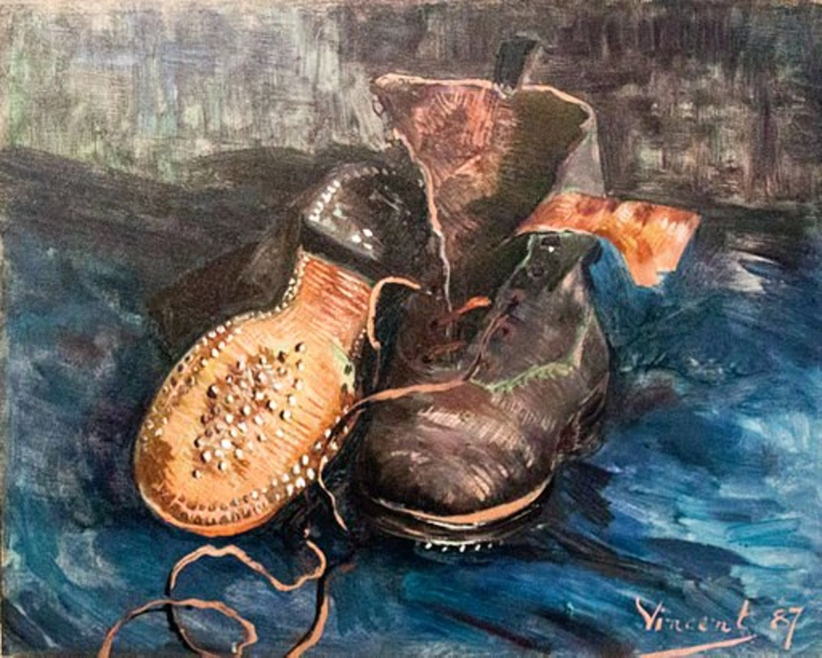 """Another example of a winning still life composition: """"A pair of shoes"""" by Vincent van Gogh, Paris, 1887"""