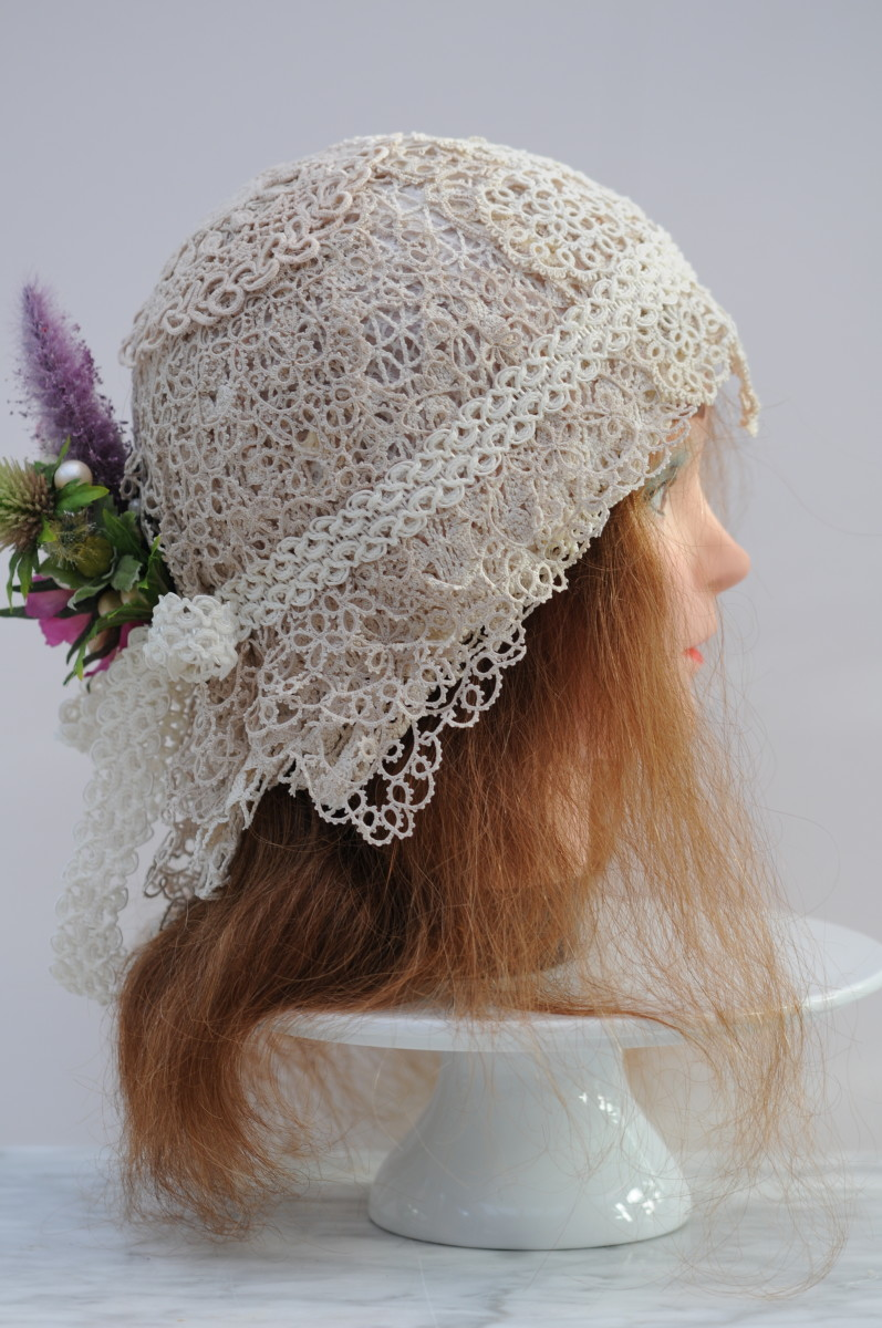 The completed 1920's flapper wedding cap.
