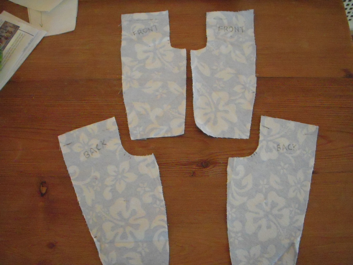 Two pattern pieces result in four pieces of cut fabric: two fronts and two backs.